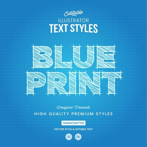Blueprint text style Premium Vector