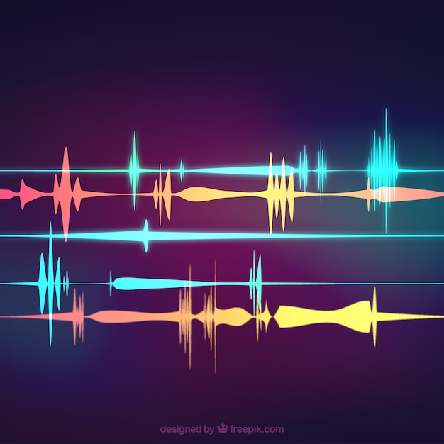 Blurred background with colored sound waves Free Vector