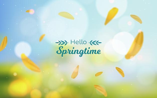 안녕하세요 봄 날 글자와 배경을 흐리게 무료 벡터