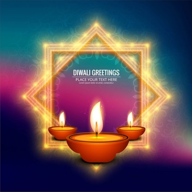 Blurred background with two light frames for diwali Free Vector