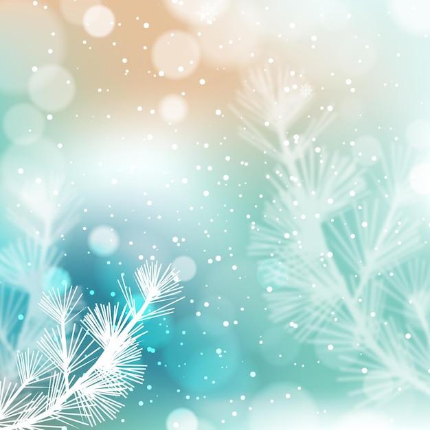Размытые красивые снежинки и растения Premium векторы