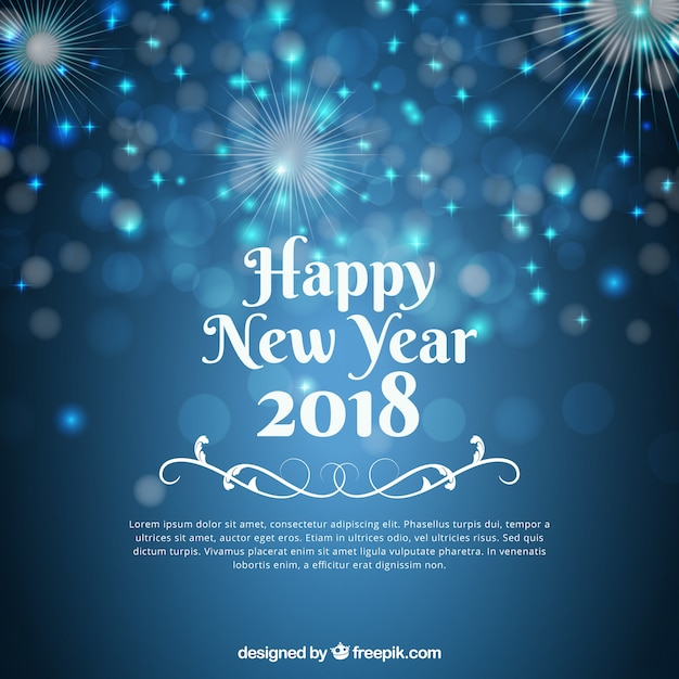 blurred blue new year background free vector