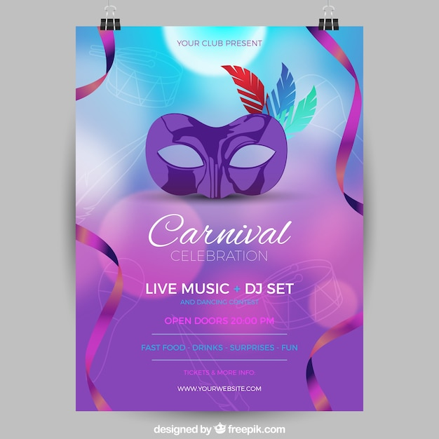 Blurred brazilian carnival party flyer/poster Free Vector