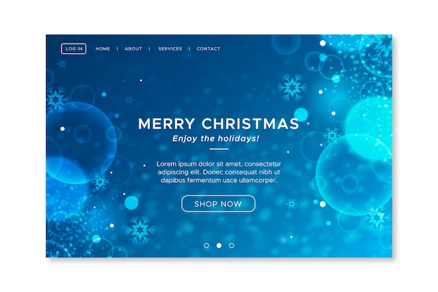 Blurred christmas landing page template Free Vector
