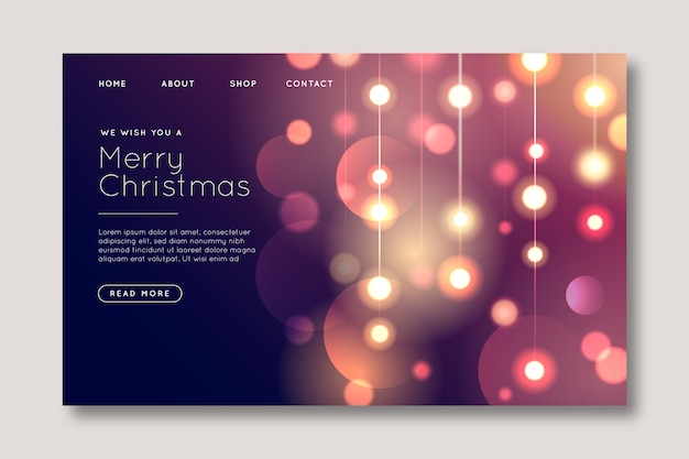 Blurred christmas landing page Free Vector