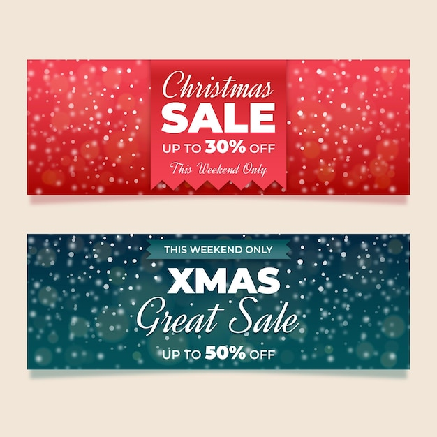Blurred christmas sale banners template Free Vector
