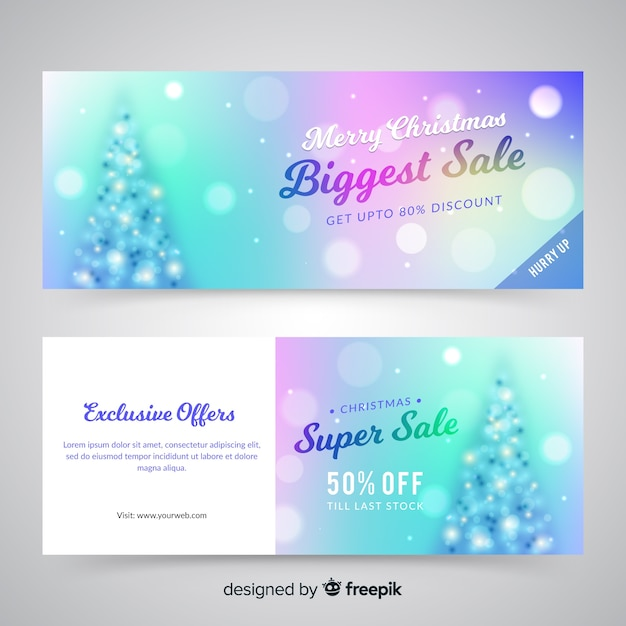 Blurred christmas sale banners Free Vector