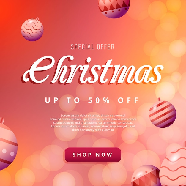 Blurred christmas sale concept Free Vector