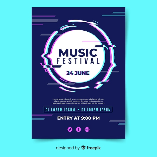 Blurred circle music festival poster Free Vector