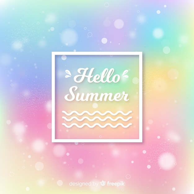 Blurred colorful hello summer background Free Vector