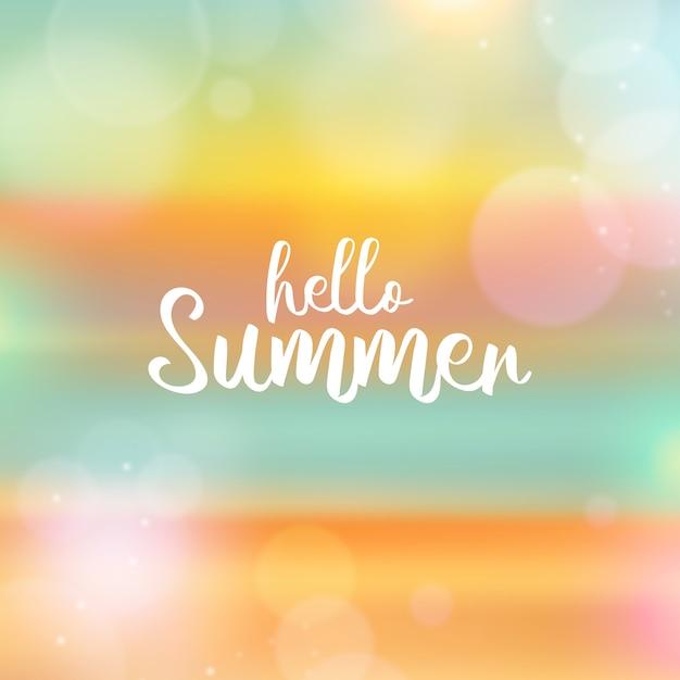 Blurred design hello summer Free Vector