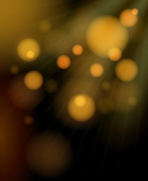 Blurred golden bubbles shimmering background Free Vector