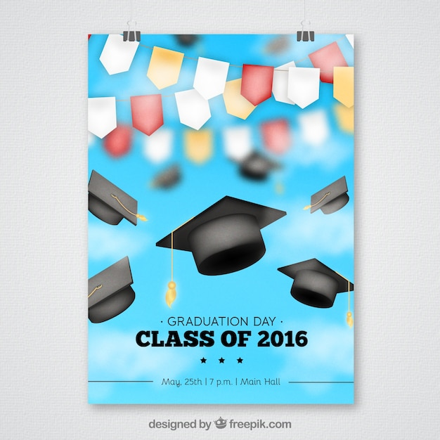 Blurred Graduation Party Poster With Garlands And