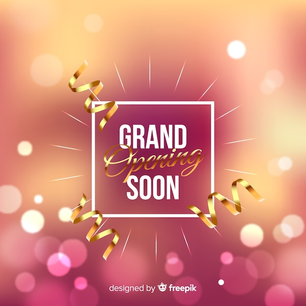 Blurred grand opening background Free Vector
