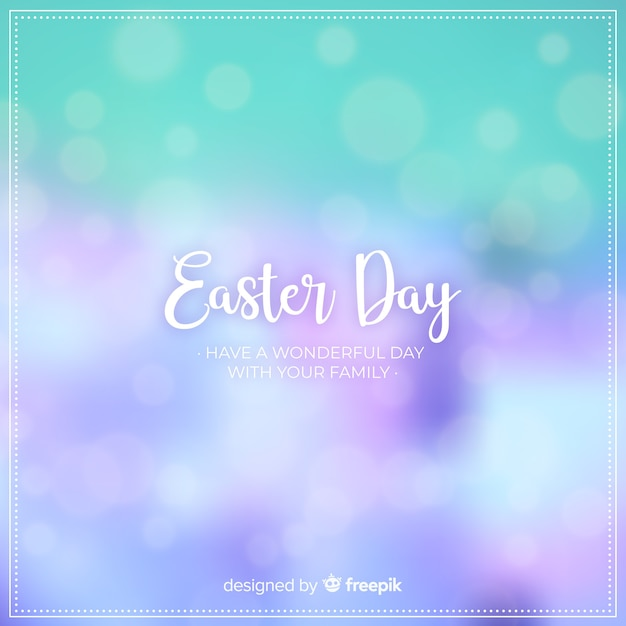 Blurred happy easter day background Free Vector