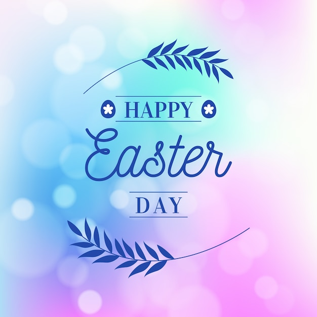 Blurred happy easter day with leaves Free Vector