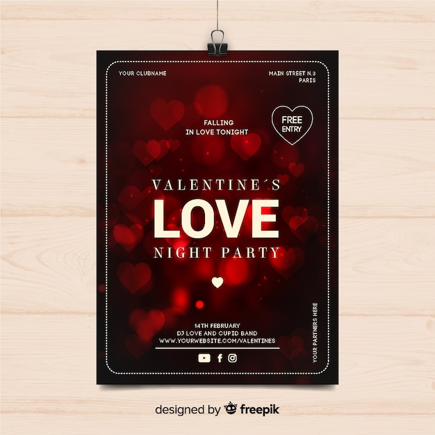 Blurred hearts valentine party poster Free Vector