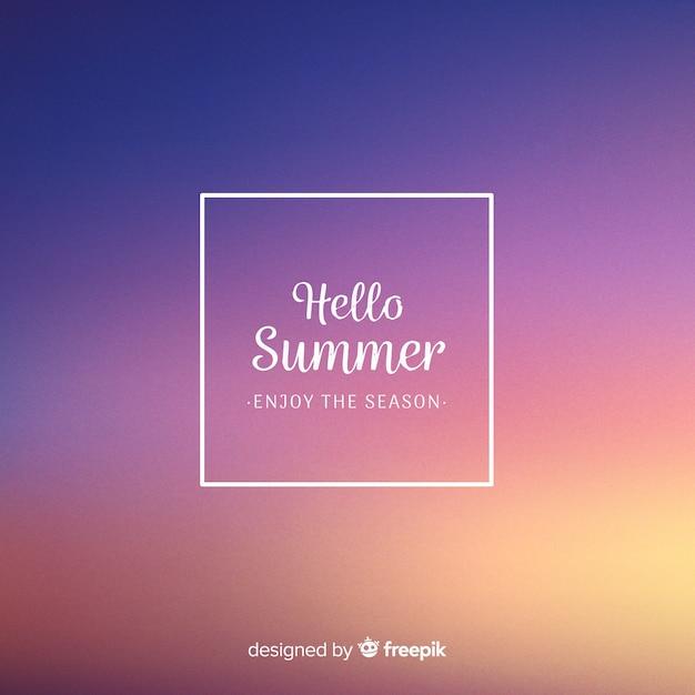 Blurred hello summer background Free Vector