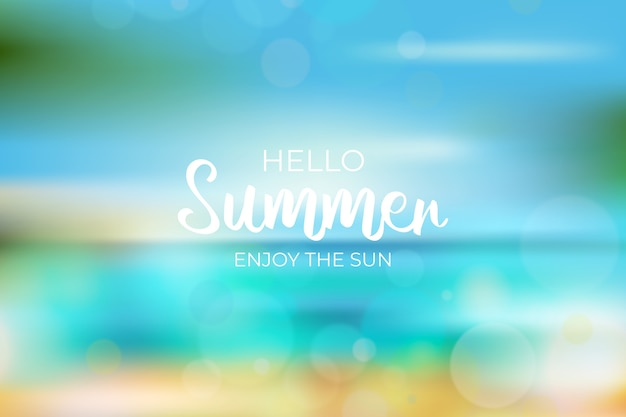 Blurred hello summer background Free Vector