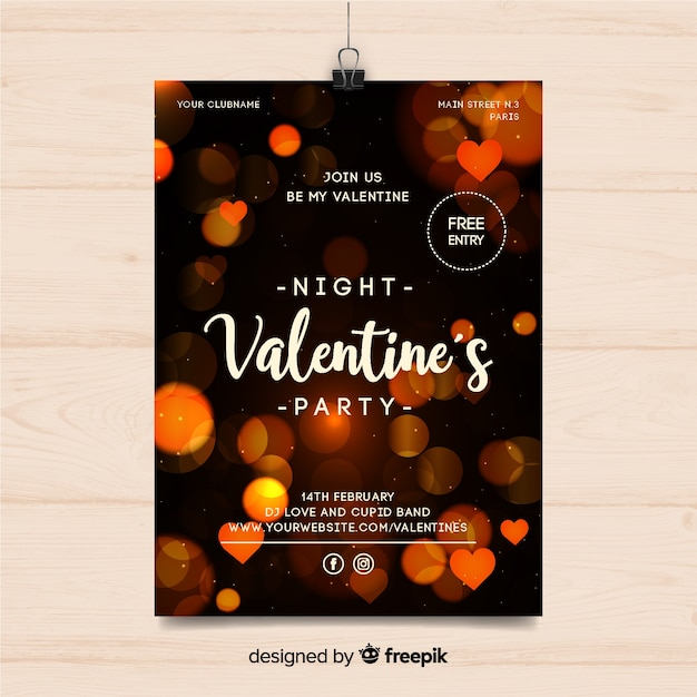 Blurred lights valentine party poster Free Vector