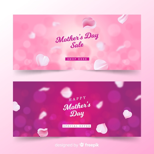 Blurred mother's day banners Free Vector