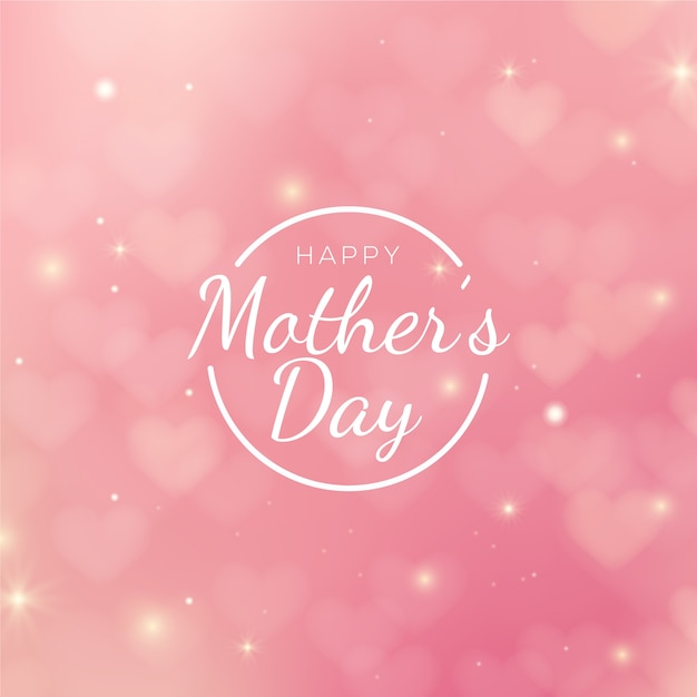 Blurred mother's day with greeting Premium Vector