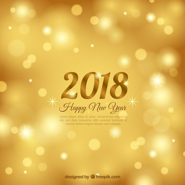 blurred new year 2018 background in gold free vector