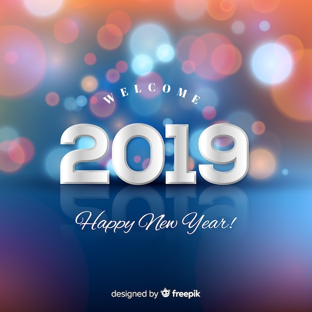 Blurred new year 2019 background Free Vector