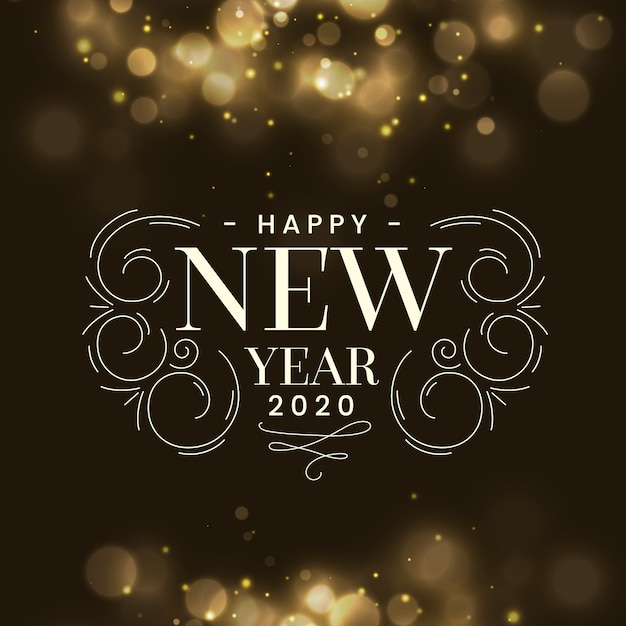 Blurred new year 2020 Free Vector