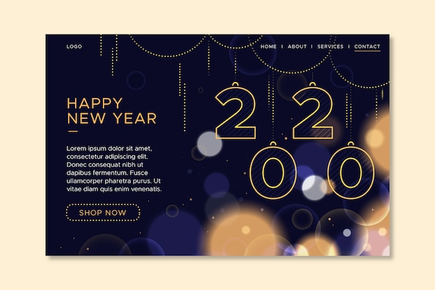 Blurred new year landing page template Free Vector