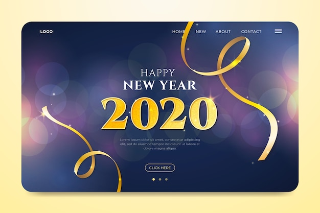 Blurred new year landing page Free Vector