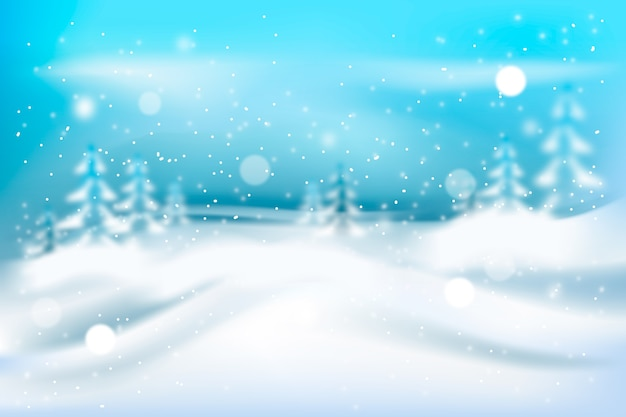 Blurred realistic snowfall in nature Free Vector