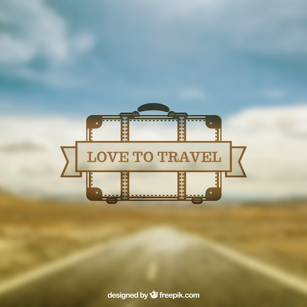 Blurred road landscape background with a hand drawn suitcase Free Vector