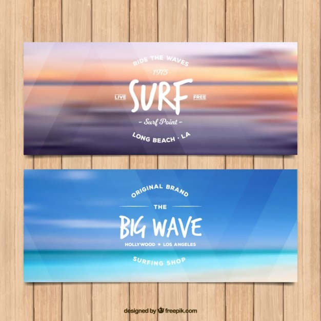 Blurred sea surf banners Free Vector