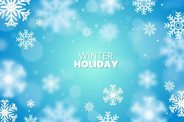 Размытые снежинки с зимним фоном текста Premium векторы