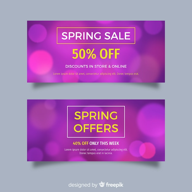Blurred spring sale banners Free Vector