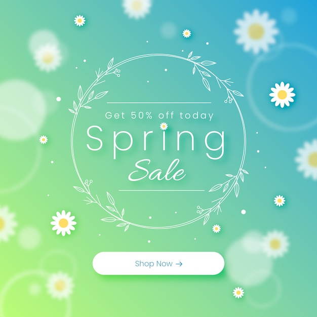 Blurred spring sale concept Free Vector