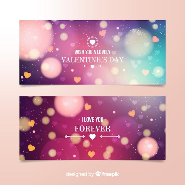 Blurred valentine banner Free Vector