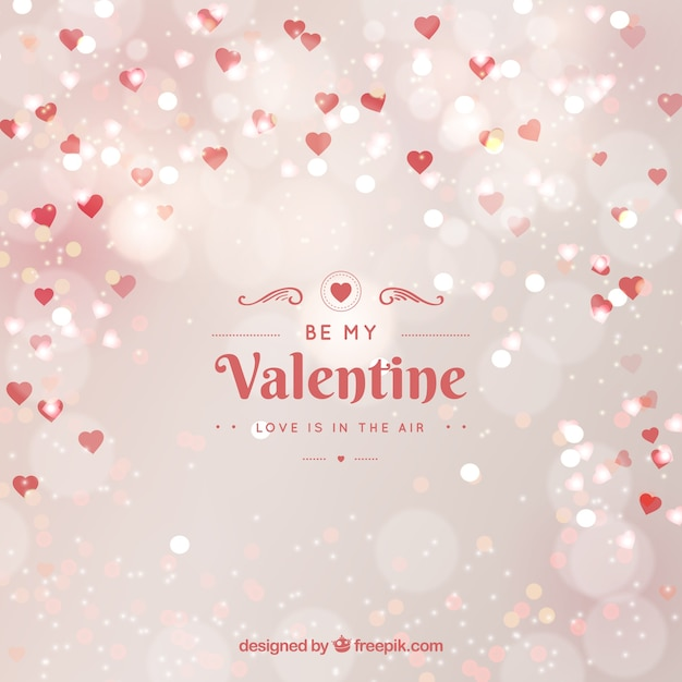Blurred valentine's day background in white Free Vector