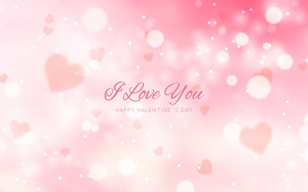 Blurred valentine's day background with message Free Vector