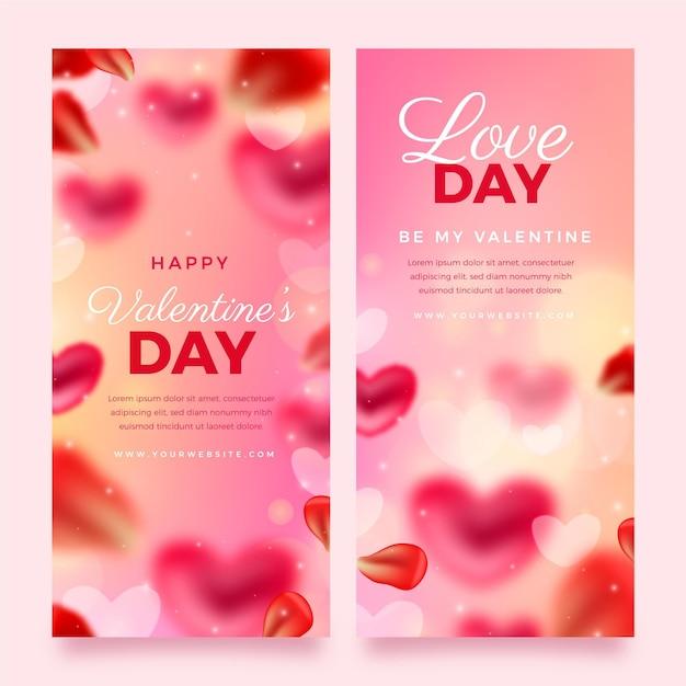 Pacchetto di banner offuscata di san valentino Vettore gratuito