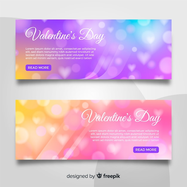 Blurred valentine's day banners Free Vector