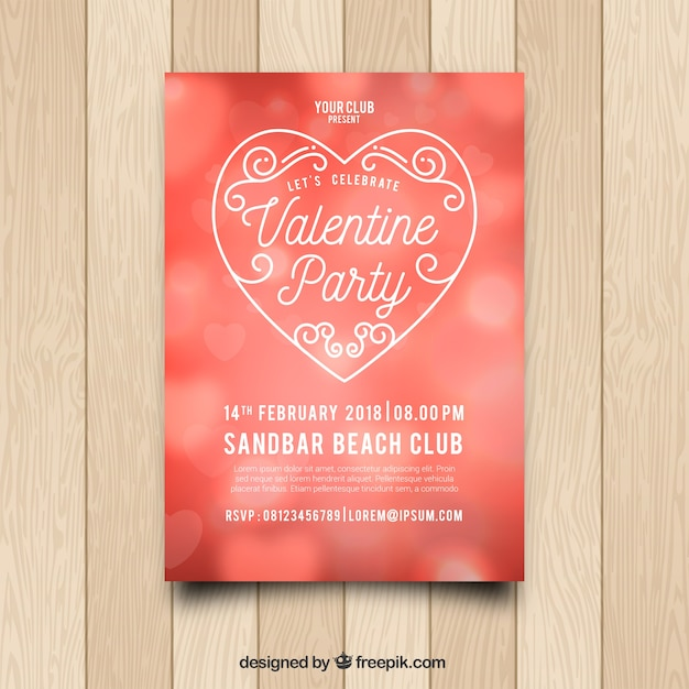 Blurred Valentineu0027s Day Flyer/poster Template Free Vector