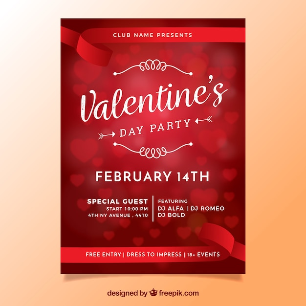 Blurred valentine's day flyer / poster with hearts Free Vector