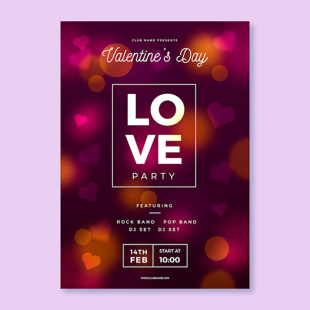 Blurred valentine's day party poster Free Vector