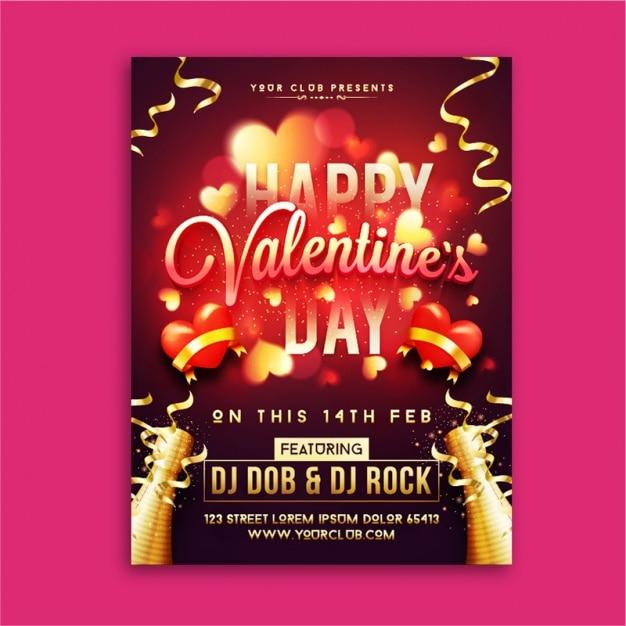 Blurred valentine's day poster with golden streamer Premium Vector