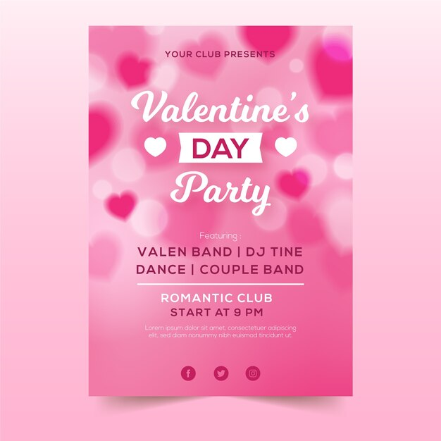 Blurred valentines day flyer template Free Vector