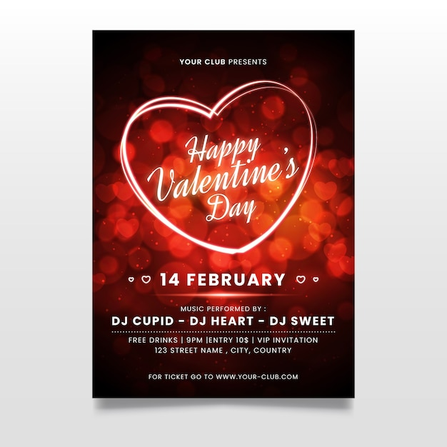 Blurred valentines day party poster template Free Vector