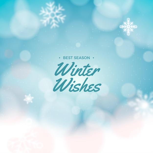 Sfondo sfocato invernale con messaggio Vettore gratuito