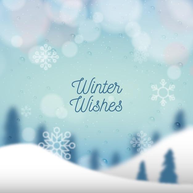 Sfondo sfocato invernale con testo Vettore gratuito